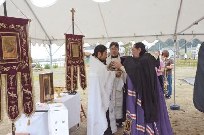 教会式で復元安全祈願 石巻市指定文化財 旧ハリストス教会堂 完成は来年度の見込み