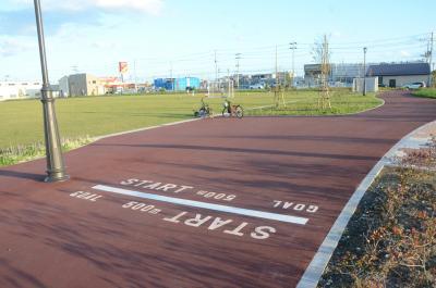 フットサルもできる芝の広場やジョギングコースもある