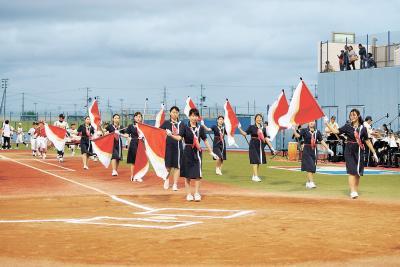 第60回記念石日旗少年野球大会 祭典盛り上げる演出続々 消防音楽隊やカラーガードも登場