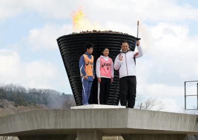 復興のシンボル返還式 聖火台4年間ありがとう 最後の点火市民見守る