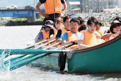 石巻川開き祭り 孫兵衛船競漕 水上決戦へ臨戦態勢