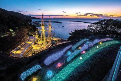 サン・ファン号 イルミネーション 今年はパーク内も電装 光まとう復元船の雄姿