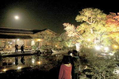 石巻市新橋 森芳春荘 14日まで夜間一般公開 癒やしの庭園 秋の美彩